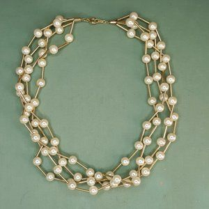 VTG Avon 4 Strand Faux Pearl Gold Tone Necklace